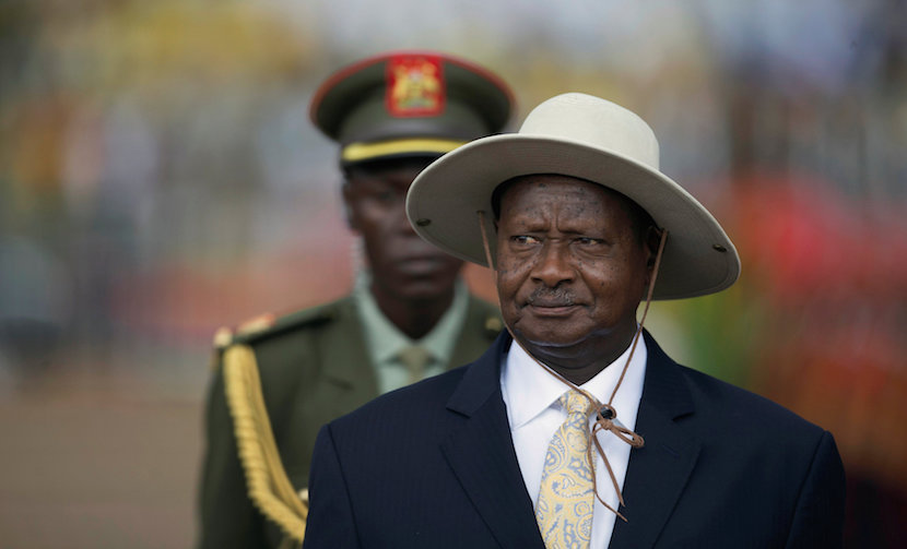 President Museveni inspects the military parade during his