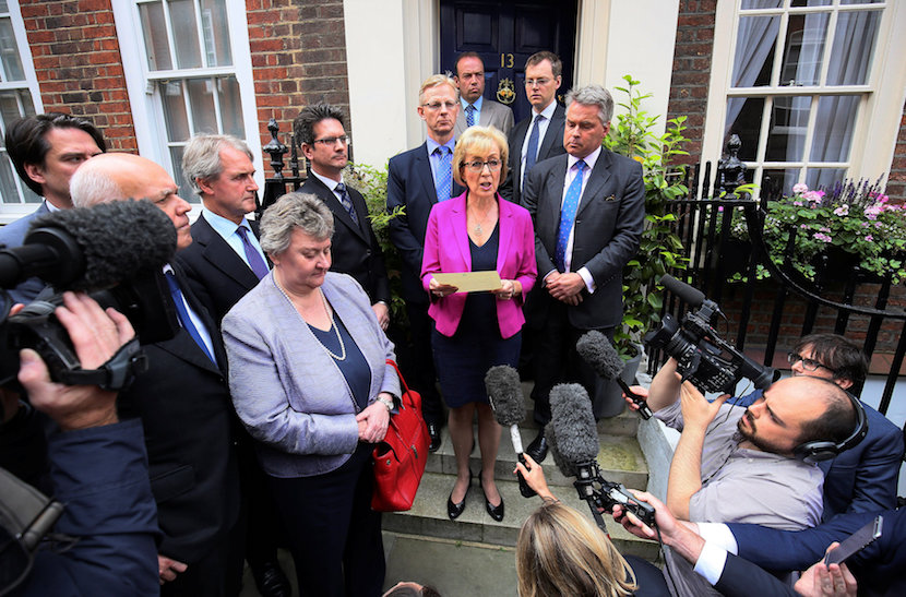 Andrea Leadsom, a candidate to become the next Conservative Party leader and British prime minister, rules herself out of the leadership battle during a news conference in central London, Britain July 11, 2016. REUTERS/Neil Hall