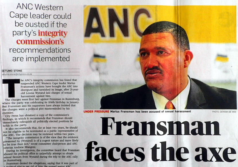 ANC member Marius Fransman faces the axe. A clipping from the City Press newspaper, July 10 2016.
