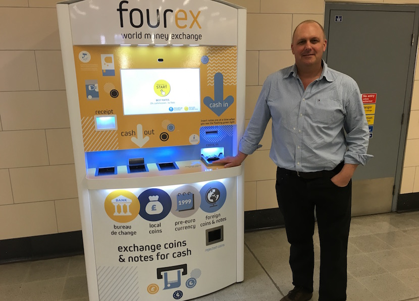 Jeff Paterson, co-founder of Fourex, at one of the foreign exchange machines in London.