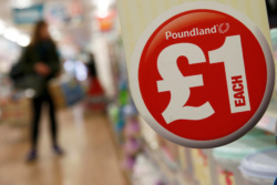 A sign is seen in a Poundland store in London, Britain November 10, 2015. REUTERS/Stefan Wermuth/File Photo
