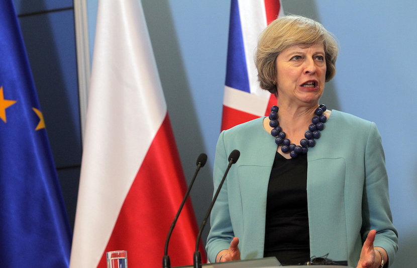 Britain's Prime Minister Theresa May attends a news conference at the Prime Minister's Chancellery in Warsaw, Poland July 28, 2016. Agencja Gazeta/Przemek Wierzchowski/via REUTERS