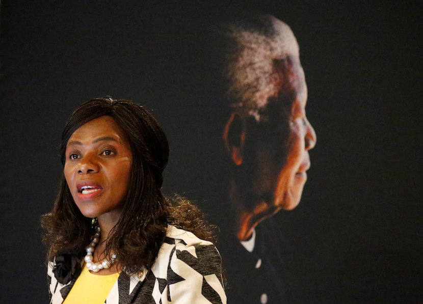 Public Protector Thuli Madonsela speaks at the Nelson Mandela Foundation in Houghton, Johannesburg, South Africa May 10,2016. Picture taken May 10, 2016. REUTERS/Siphiwe Sibeko/File Photo