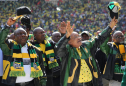 African National Congress (ANC) president, Jacob Zuma (2nd R) waves to his supporters. REUTERS/Siphiwe Sibeko