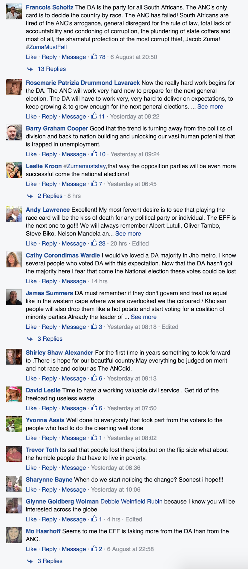 Some of the comments under the link to this story on Alec Hogg's Facebook site