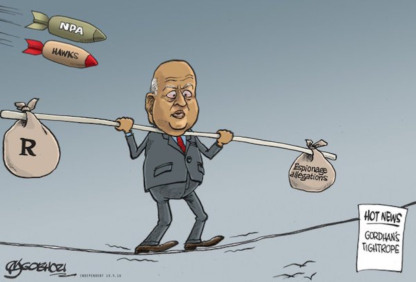 Pravin Gordhan. Cartoon courtesy of Twitter @TheStar_news
