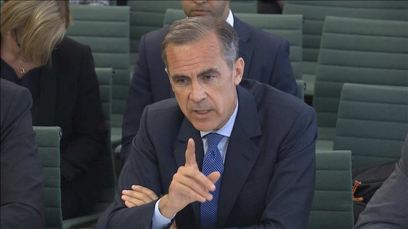 Governor of the Bank of England Mark Carney gives evidence to members of parliament on the Treasury Committee on the July 5 Financial Stability Report, in London, Britain in this still image taken from video. Parliament TV/Handout via REUTERS TV