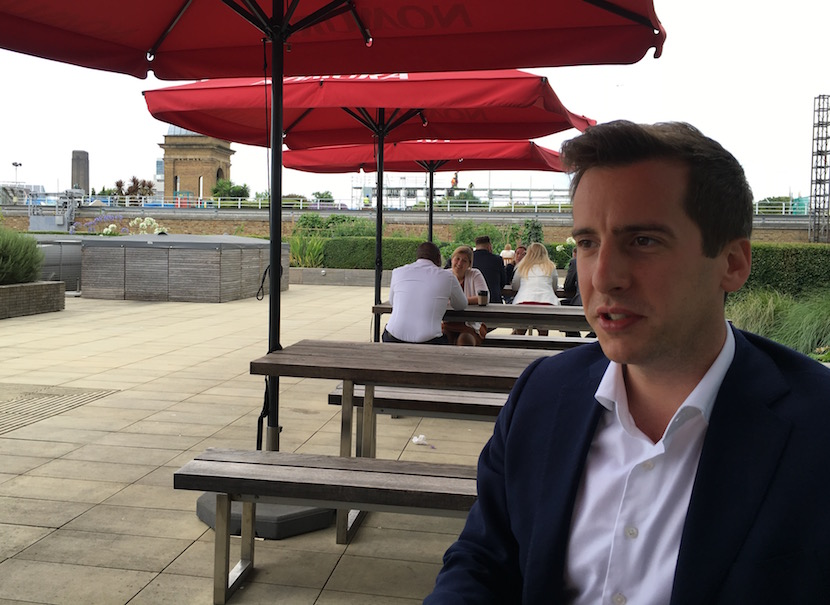 Peter Attard Montalto on the staff rooftop chill area at Nomura's London HQ.