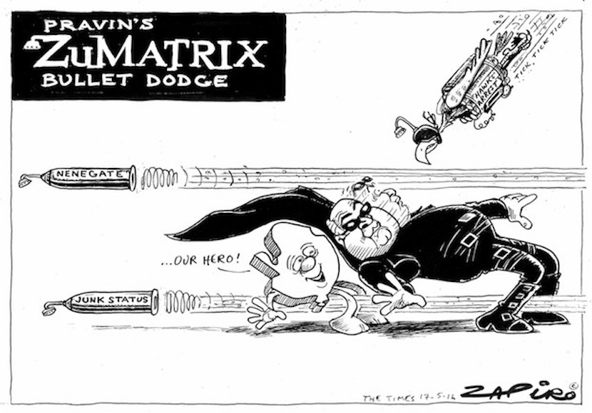 Finance Minister Pravin Gordhan dodging bullets. More magic available at www.zapiro.com.