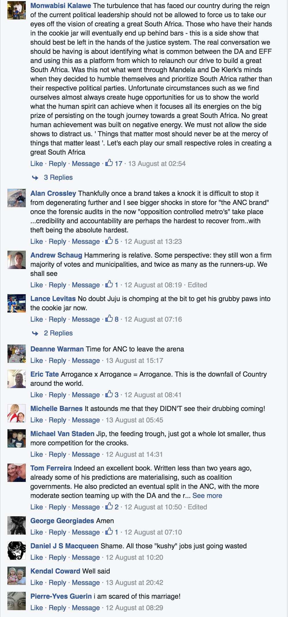 Some of the comments posted under the link to the coalition story on Alec Hogg's Facebook page.