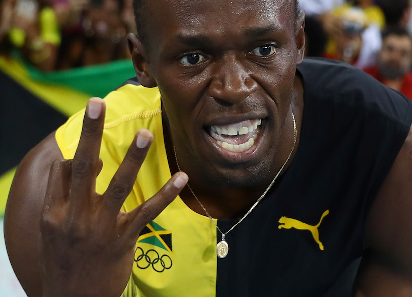2016 Rio Olympics - Athletics - Final - Men's 4 x 100m Relay Final - Olympic Stadium - Rio de Janeiro, Brazil - 19/08/2016. Usain Bolt (JAM) of Jamaica celebrates winning the Jamaican team's gold medal. REUTERS/Kai Pfaffenbach