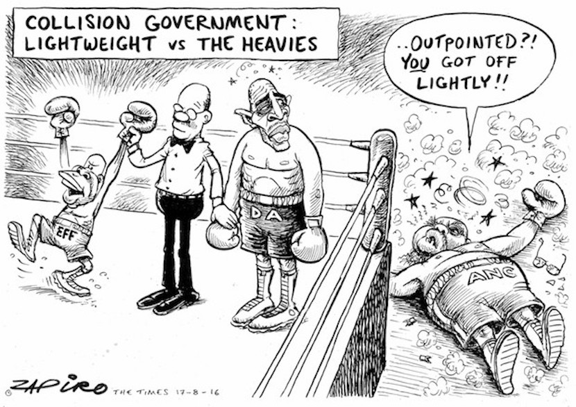 The lightweights are toppling the heavies as opposition parties take up their mayoral roles in major cities. More magic available at www.zapiro.com.