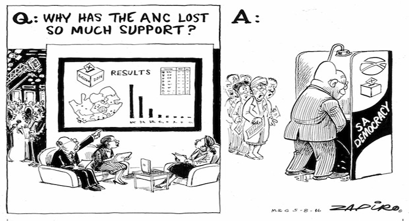 Cartoonist Zapiro gives his views on why the ANC has lost so much ground in the 2016 Municipal Elections. More magic available at www.zapiro.com