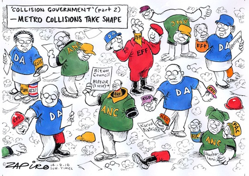 Zapiro's take on local government coalitions. More collision cartoons available at www.zapiro.com.
