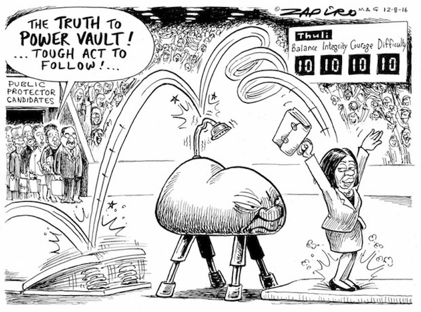 In Thuli Madonsela's footsteps, a tough act to follow. More magic available at www.zapiro.com.