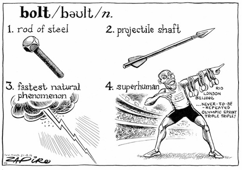 Usain Bolt's triple, triple, triple. More magic available at www.zapiro.com.