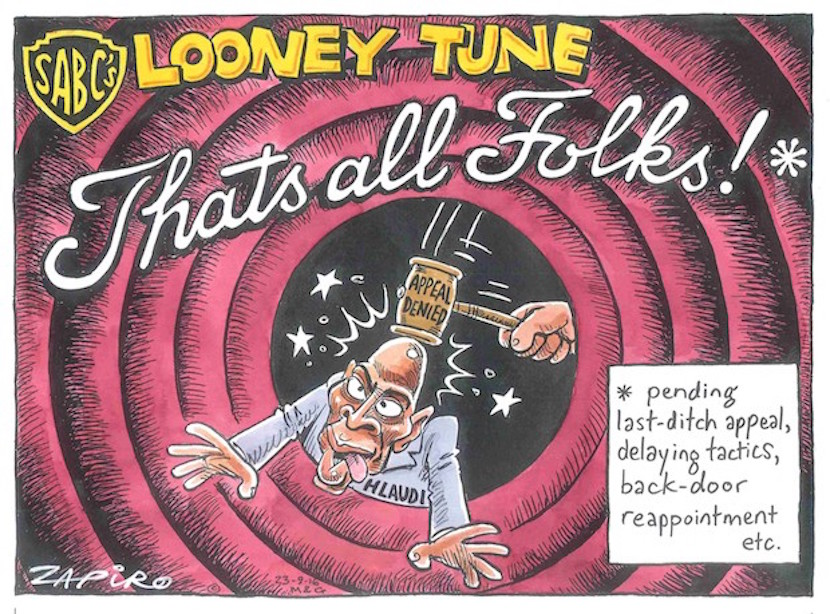 That's all folks, or is it? Zapiro on Hlaudi Motsoeneng. More magic available at www.zapiro.com.