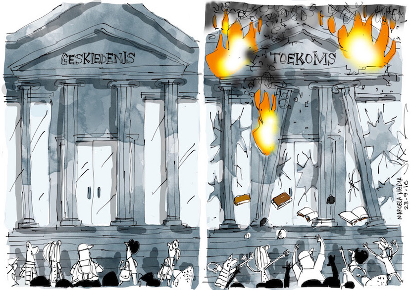 Universities and history go up in smoke. More magic at www.jerm.co.za.