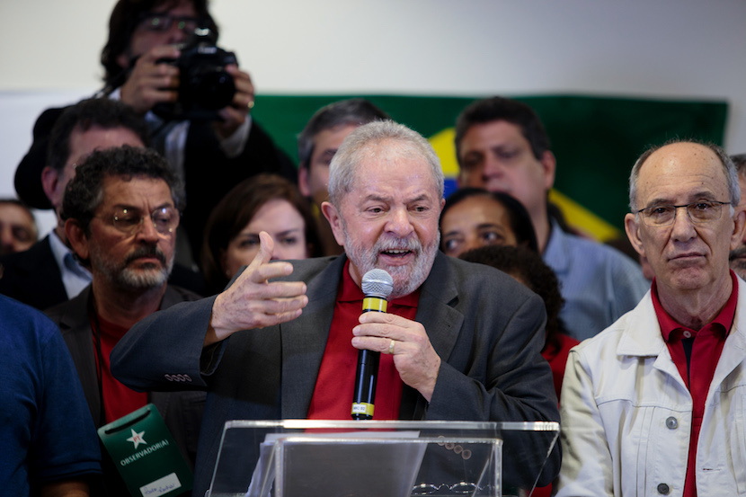 Luiz Inacio Lula da Silva, former president of Brazil, speaks during news conference in Sao Paulo, Brazil. Lula fought back against charges of corruption and money laundering a day after federal prosecutors accused him of directing the biggest corruption scheme in the nation's history. Photographer: Patricia Monteiro/Bloomberg