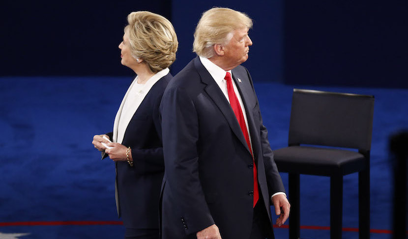 Hillary Clinton, 2016 Democratic presidential nominee, and Donald Trump, 2016 Republican presidential nominee. Photographer: Andrew Harrer/Bloomberg