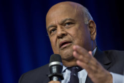Pravin Gordhan, South Africa's finance minister, speaks during a panel discussion at the International Monetary Fund (IMF) and World Bank Group Annual Meetings in Washington, D.C., U.S., on Thursday, Oct. 6, 2016. The IMF warned this week that rising political tensions over globalization are threatening to derail a world recovery already seeking a reliable growth engine. Photographer: Andrew Harrer/Bloomberg