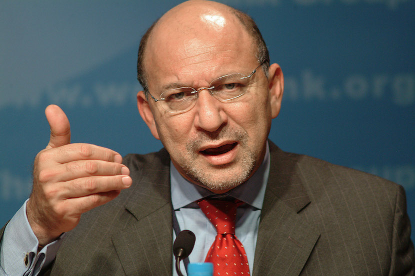 Trevor Manuel, South African Finance Minister and Chairman of the Development Committee, center, calls delegates to order at a meeting at the International Monetary Fund and World Bank Conference in Dubai, United Arab Emirates Monday September 22, 2003. South Africa's unemployment rate, already the highest among 57 countries tracked by Bloomberg, may have risen in the six months to February, government figures due Tuesday may show, increasing pressure on the government to improve education and create new jobs for unskilled workers. Photographer: Charles Crowell/Bloomberg News.