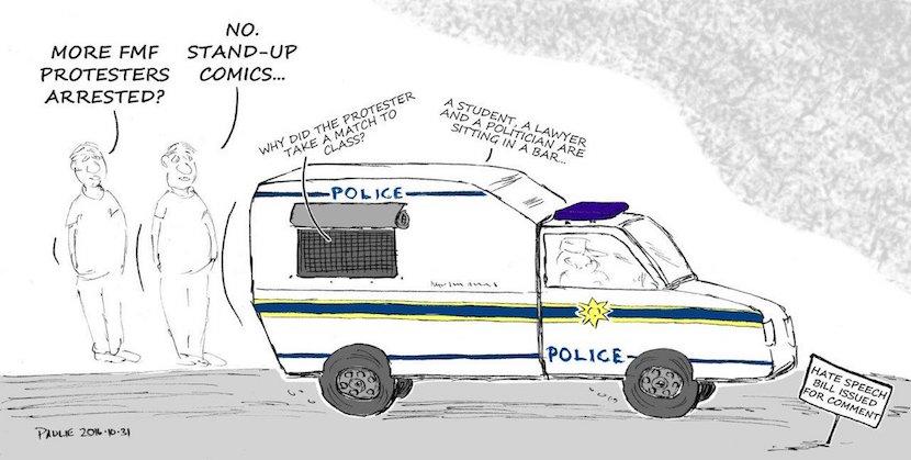 Hate speech bill. Cartoon published courtesy of Twitter @PaulieCartoons