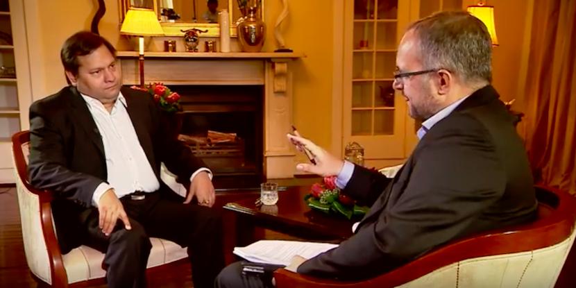 Stephen Grootes interviewing Ajay Gupta.