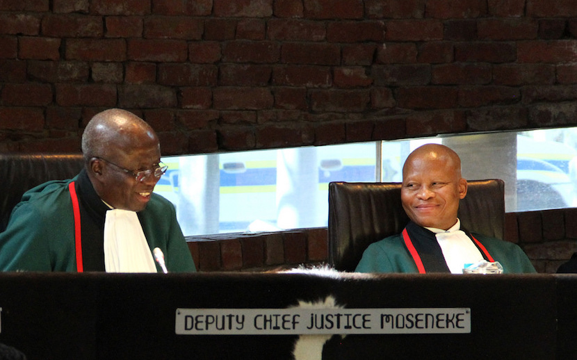 Deputy Chief Justice Dikgang Moseneke with Chief Justice Mogoeng Mogoeng during a special session to mark the retirement of the Deputy Chief Justice. (Photo: GCIS)