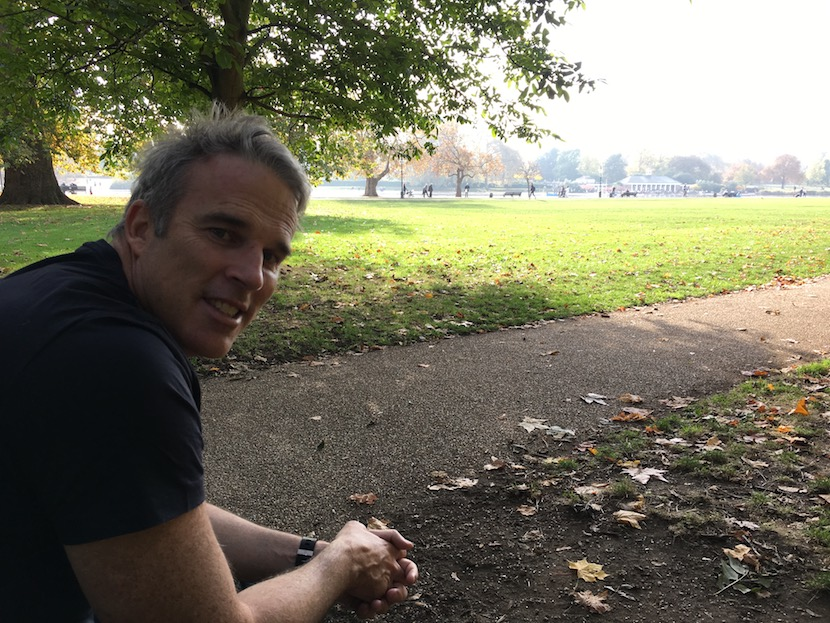 The UN's Patron of the Seas, Lewis Pugh, taking time out in one of his favourite London spots - in Hyde Park overlooking the Serpentine