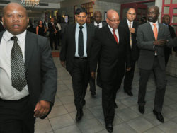 Jacob Zuma attends The New Age and SABC Business briefing on 16 Mar 2012, accompanied by Atul Gupta, Malusi Gigaba and Nazeem Howa.