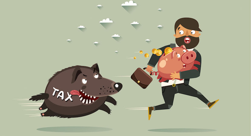 Tax consulting, planning and optimization funny concept. Businessman with briefcase and Piggy Bank run away from Taxes boar. Vector colorful illustration in flat style