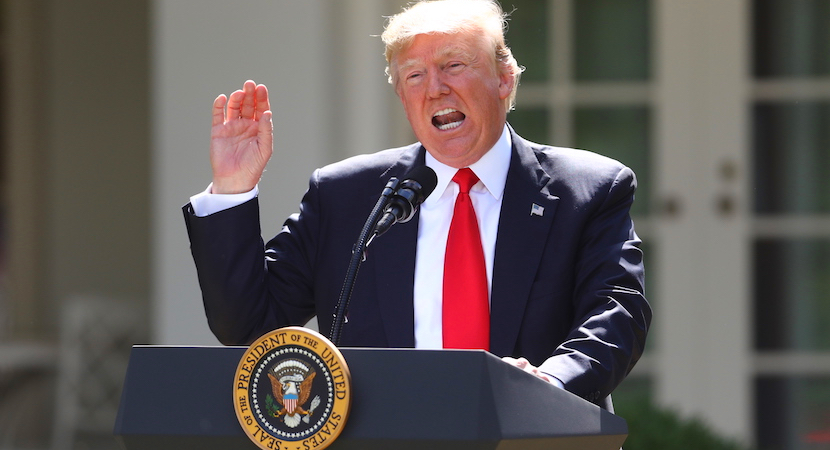 US President Donald Trump speaks during an announcement in the Rose Garden of the White House in Washington, D.C., U.S., on Thursday, June 1, 2017. Trump announced the U.S. would withdraw from the Paris climate pact and that he will seek to renegotiate the international agreement in a way that treats American workers better.