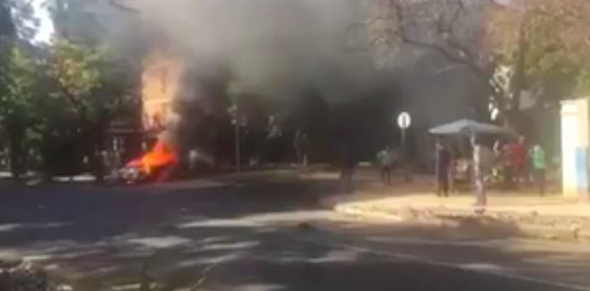 MUST WATCH: Uber vehicle set on fire as antibodies take to the streets