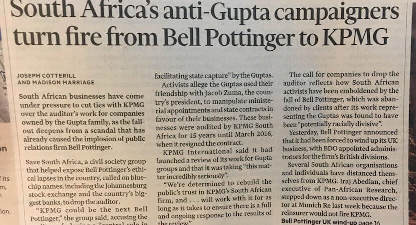 Righteously indignant global pack targets Goliaths inflicted with the #GuptaCurse.
