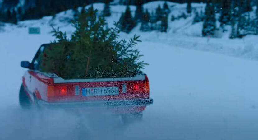 The best way to collect a Christmas tree…in a BMW E30 M3 pickup