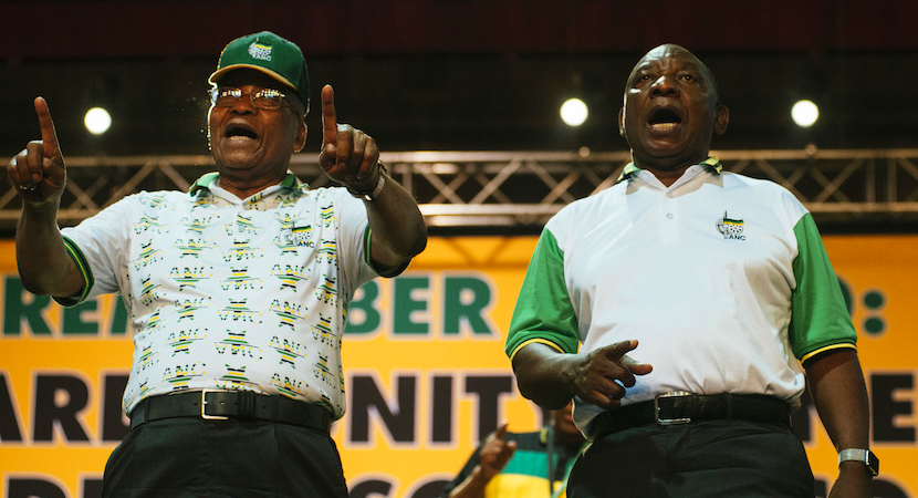 President Jacob Zuma and his deputy Cyril Ramaphosa react during the ANC's 54th national conference in Johannesburg on December 18, 2017. Photographer: Waldo Swiegers/Bloomberg