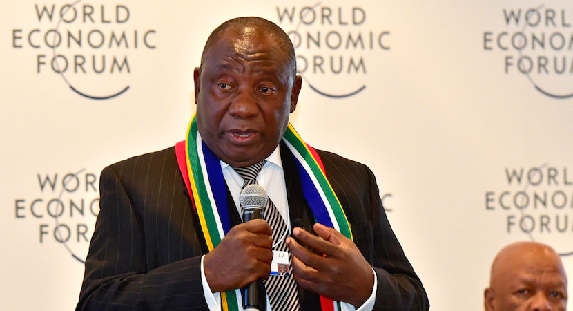 Cyril Ramaphosa addresses the Business Interaction Group on South Africa at the World Economic Forum 2017 in Davos, Switzerland.