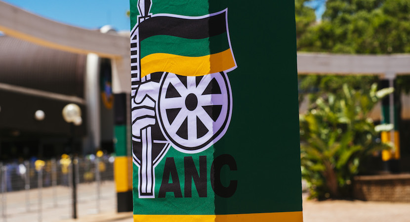 ANC signage sits on display outside the Nasrec exhibition centre in Johannesburg.