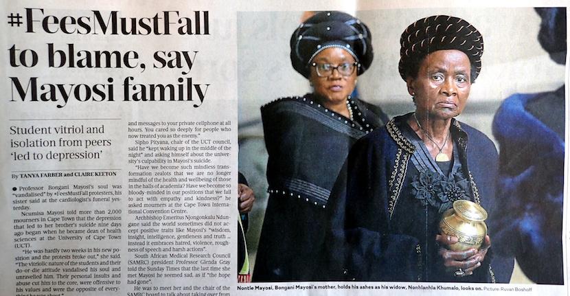 #FeesMustFall to blame, say Mayosi family