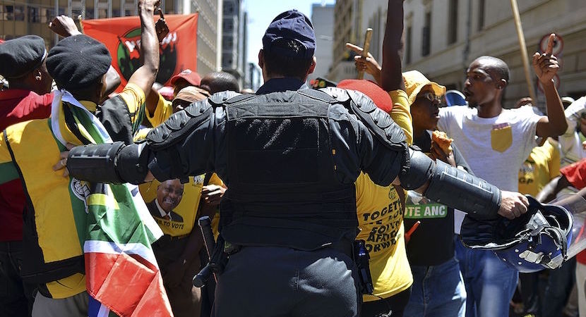 File Photo: police, ANC supporters, violent protests