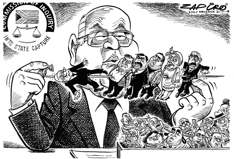 Pravin Gordhan, Zapiro, State Capture Inquiry
