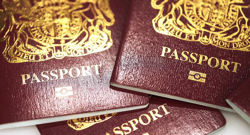 Burgundy red British passports