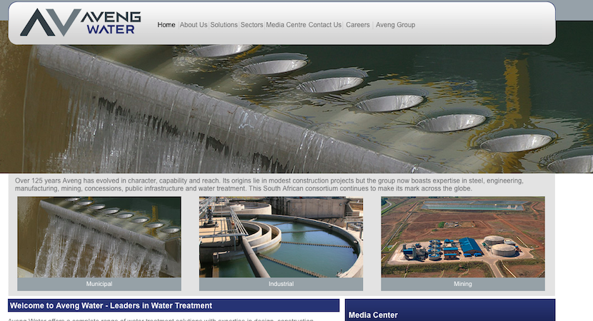 Aveng Water website screenshot