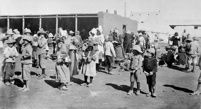 Boer women and children in a British concentration camp during the Boer war.