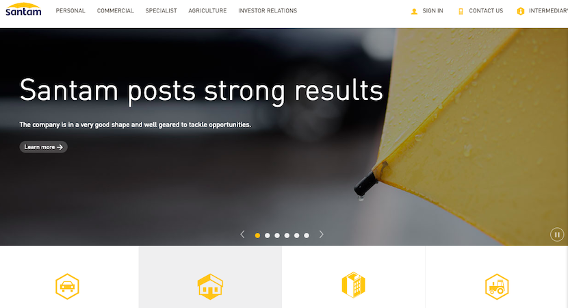 Santam, website, screenshot