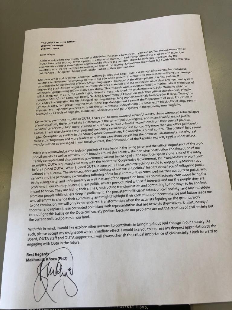 Makhosi Khoza OUTA resignation letter