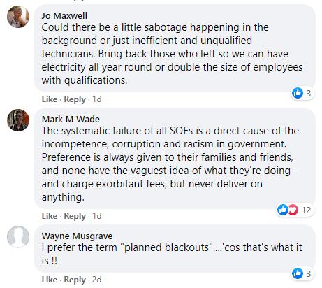 Eskom Facebook comment