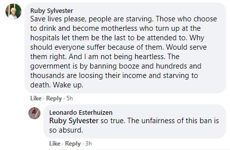 alcohol ban Facebook comment