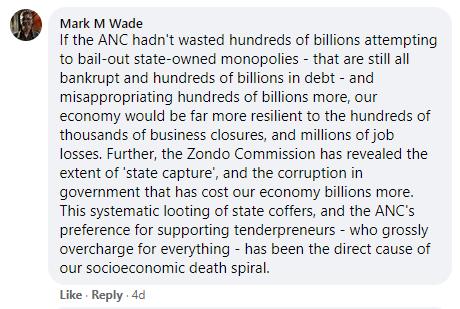 Ramaphosa Facebook comment